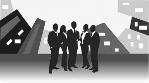vector image of business team standing in front of office buildi